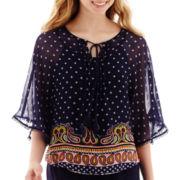 Olsenboye® 3/4-Sleeve Chiffon Bordered Top