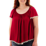 Arizona Cap-Sleeve Pom Pom-Trim Peasant Top - Plus