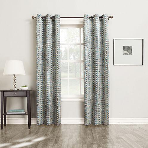Sun Zero™ Allen Diamond Pattern Room-Darkening Grommet-Top Curtain Panel