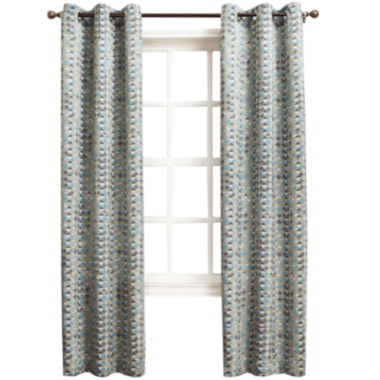 jcpenney.com | Sun Zero™ Allen Diamond Pattern Room-Darkening Grommet-Top Curtain Panel