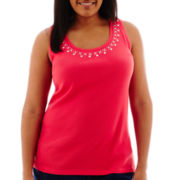St. John's Bay® Embellished Tank Top - Plus