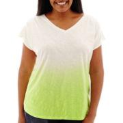 Liz Claiborne® Short-Sleeve Dip-Dyed T-Shirt - Plus