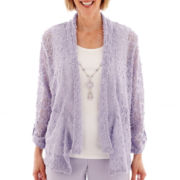Alfred Dunner® Sunrise Point 3/4-Sleeve Slub Knit Layered Top with Necklace