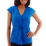 Liz Claiborne® Short-Sleeve Belted Tunic Top