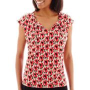 Liz Claiborne® Short-Sleeve Tie-Front Blouse