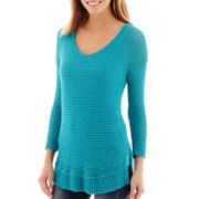 Stylus™3/4-Sleeve Tape Yarn Sweater