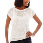 Liz Claiborne® Short-Sleeve Flower Mesh Sweater