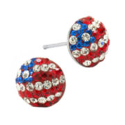 Sterling Silver Red, White & Blue Crystal Flag Earrings