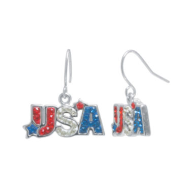 jcpenney.com | Crystal Sophistication™ Red, White & Blue Crystal USA Drop Earrings