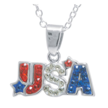 jcpenney.com | Crystal Sophistication™ Red, White & Blue Crystal USA Pendant