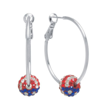 jcpenney.com | Crystal Sophistication™ Red, White & Blue Crystal Ball Hoop Earrings