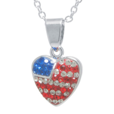 jcpenney.com | Crystal Sophistication™ Red, White & Blue Crystal Flag Heart Pendant