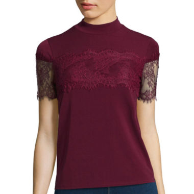 jcpenney.com | Decree® Short-Sleeve Mock-Neck Lace Top