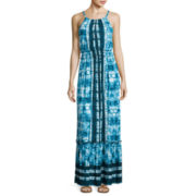 Luxology Sleeveless Tie-Dyed Blouson Maxi Dress