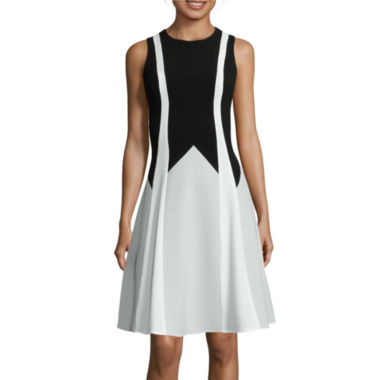 jcpenney.com | Danny & Nicole® Sleeveless Textured Colorblock Fit-and-Flare Dress