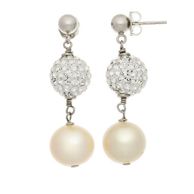 jcpenney.com | Cultured Freshwater Pearl & Crystal Sterling Silver Earrings