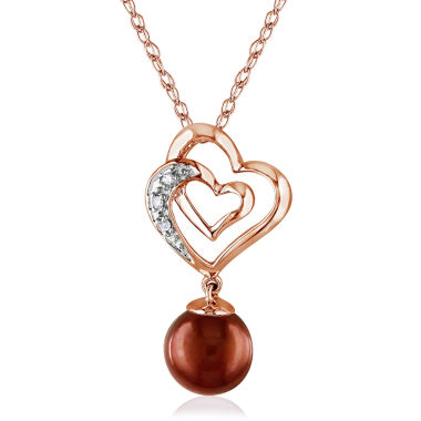 jcpenney.com | Brown Cultured Freshwater Pearl & Diamond Accent 10K Rose Gold Pendant Necklace