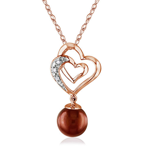 Brown Cultured Freshwater Pearl & Diamond Accent 10K Rose Gold Pendant Necklace