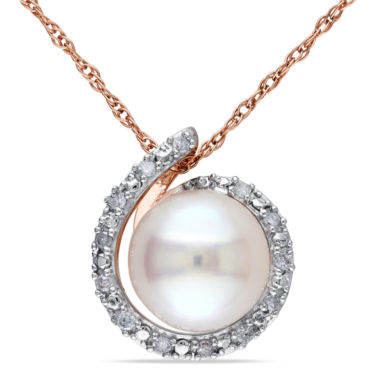 jcpenney.com | White Cultured Freshwater Pearl & Diamond Accent 10K Rose Gold Pendant Necklace