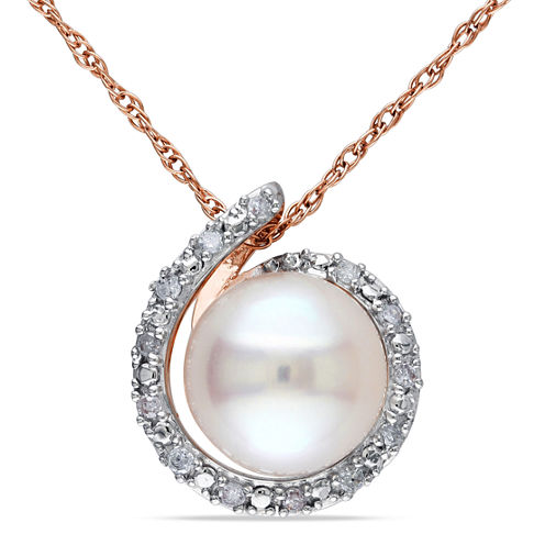 White Cultured Freshwater Pearl & Diamond Accent 10K Rose Gold Pendant Necklace