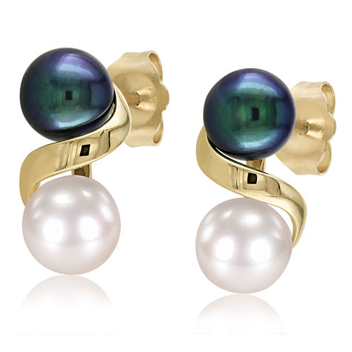 Black & White Cultured Freshwater Pearl 10K Yellow Gold Earrings