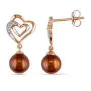 Brown Cultured Freshwater Pearl & Diamond Accent 10K Rose Gold Earrings