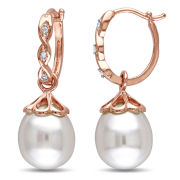 Cultured Freshwater Pearl & Diamond Accent 10K Rose Gold Hoop Earrings