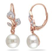 White Cultured Freshwater Pearl & Diamond 10K Rose Gold Earrings