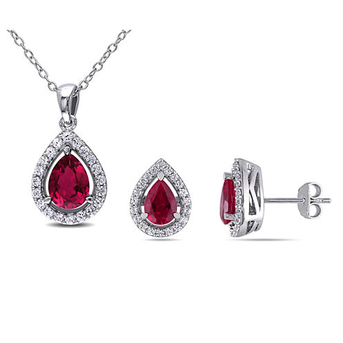 Lab-Created Ruby & White Sapphire Earrings & Pendant Necklace 2-Piece Set