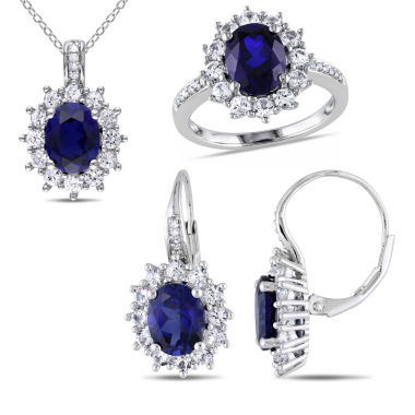 jcpenney.com | Lab-Created Blue Sapphire and Diamond Sterling Silver Earring, Ring, and Pendant Necklace 3-Piece Set
