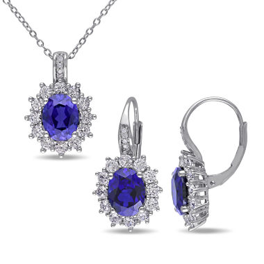 jcpenney.com | Lab-Created Blue Sapphire and Diamond Sterling Silver Earring and Pendant 2-Piece Set