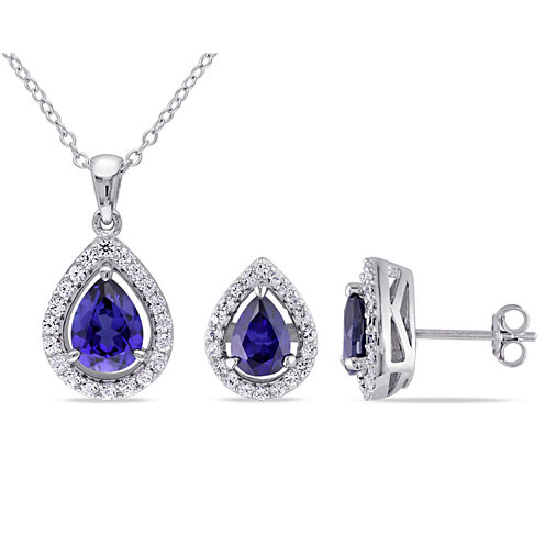 Lab-Created Blue Sapphire Sterling Silver Set Silver Earrings and Pendant Necklace 2-Piece Set
