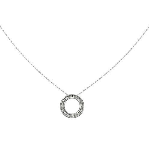 1/4 CT. T.W. 14K White Gold Diamond Circle Pendant