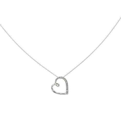 14K White Gold Diamond Accent Heart Chain Slide Pendant