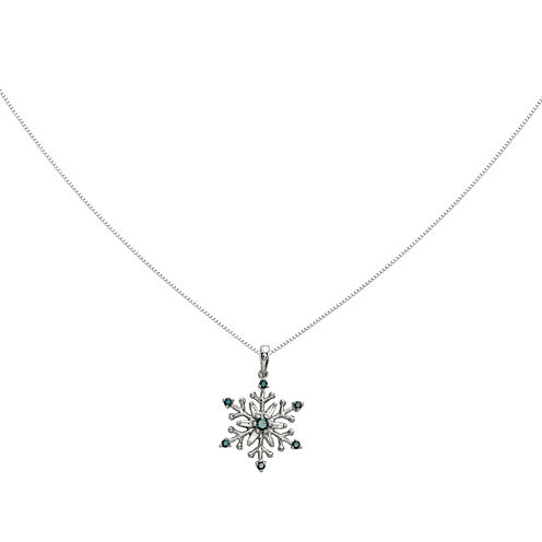 14K White Gold White & Color-Enhanced Blue Diamond Snowflake Pendant