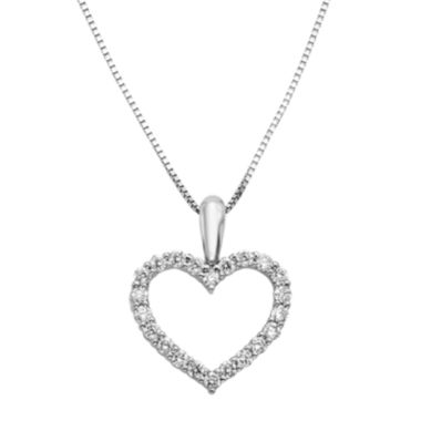 jcpenney.com | 14K White Gold 1/4 CT. T.W. Diamond IGL Certified Heart Pendant Necklace