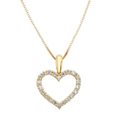 jcpenney.com | 14K Yellow Gold .25 Carat Diamond Igl Certified Heart Pendant with Chain