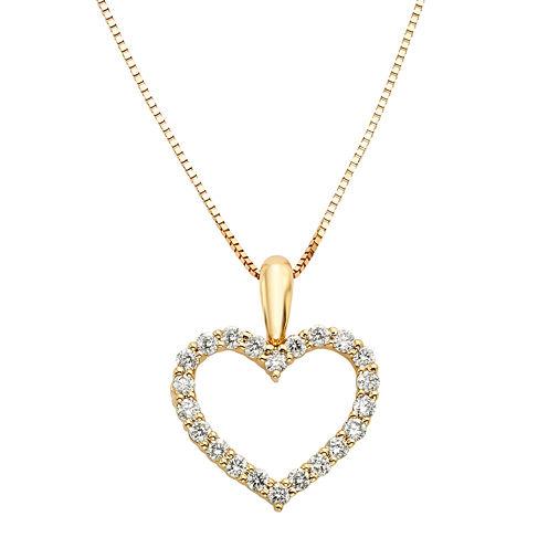 14K Yellow Gold .25 Carat Diamond Igl Certified Heart Pendant with Chain