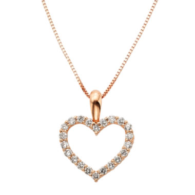 jcpenney.com | 14K Rose Gold .25 Carat Diamond Igl Certified Heart Pendant with Chain