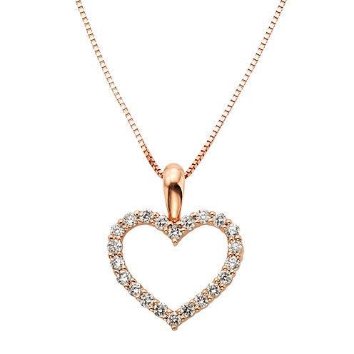 14K Rose Gold .25 Carat Diamond Igl Certified Heart Pendant with Chain