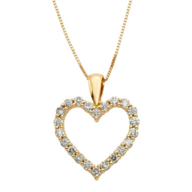 jcpenney.com | 14K Yellow Gold .50 Carat Diamond Igl Certified Heart Pendant with Chain