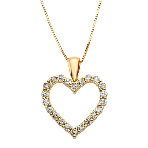 14K Yellow Gold .50 Carat Diamond Igl Certified Heart Pendant with Chain