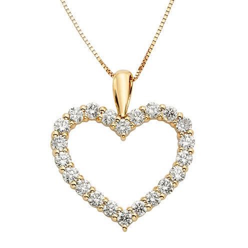 14K Yellow Gold 1 Carat Diamond Igl Certified Heart Pendant with Chain