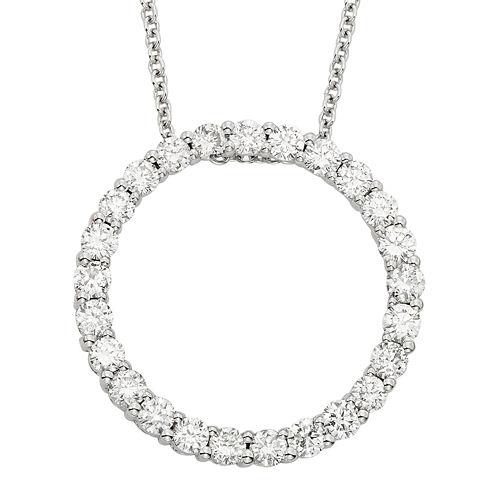 14K White Gold Diamond Certified Circle Pendant Chain