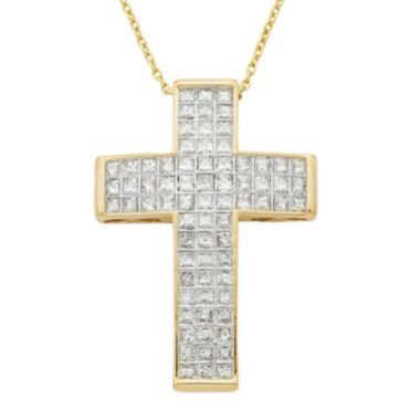 jcpenney.com | 14K Yellow Gold 1 CT. T.W. Diamond IGL Certified Cross Pendant Necklace