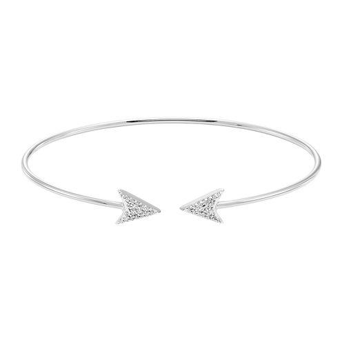 Silver .14 Carat Diamond Double Arrow Diamond Flex Bangle Bracelet