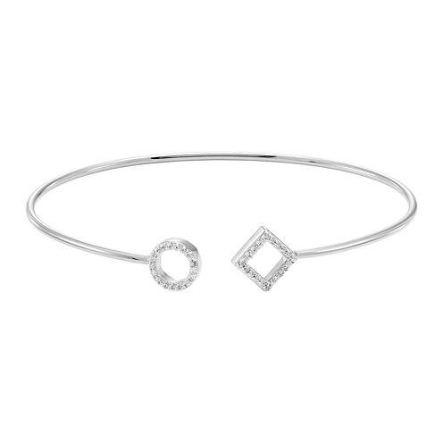 Silver .18 Carat Diamond Open Square And Circle Flex Bangle Bracelet