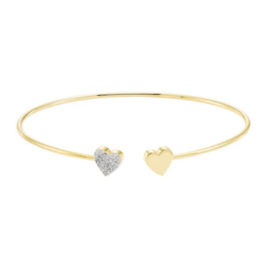 jcpenney.com | Silver .11 Carat Diamond Hearts Flex Bangle Bracelet