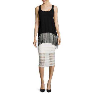 jcpenney.com | i jeans by Buffalo Fringe Sharkbite Tank Top or Lace Midi Skirt