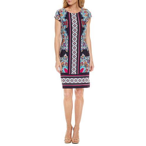 Liz Claiborne Short Sleeve Paisley Shift Dress